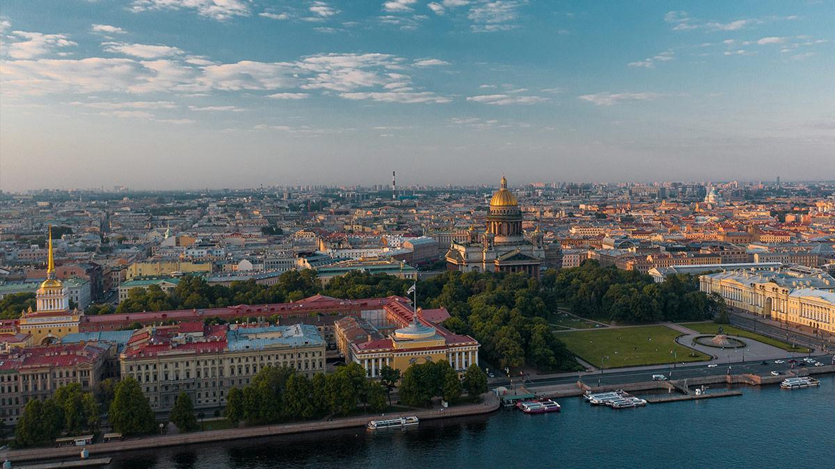 Рассвет в Санкт-Петербурге - аэрофотосъемка